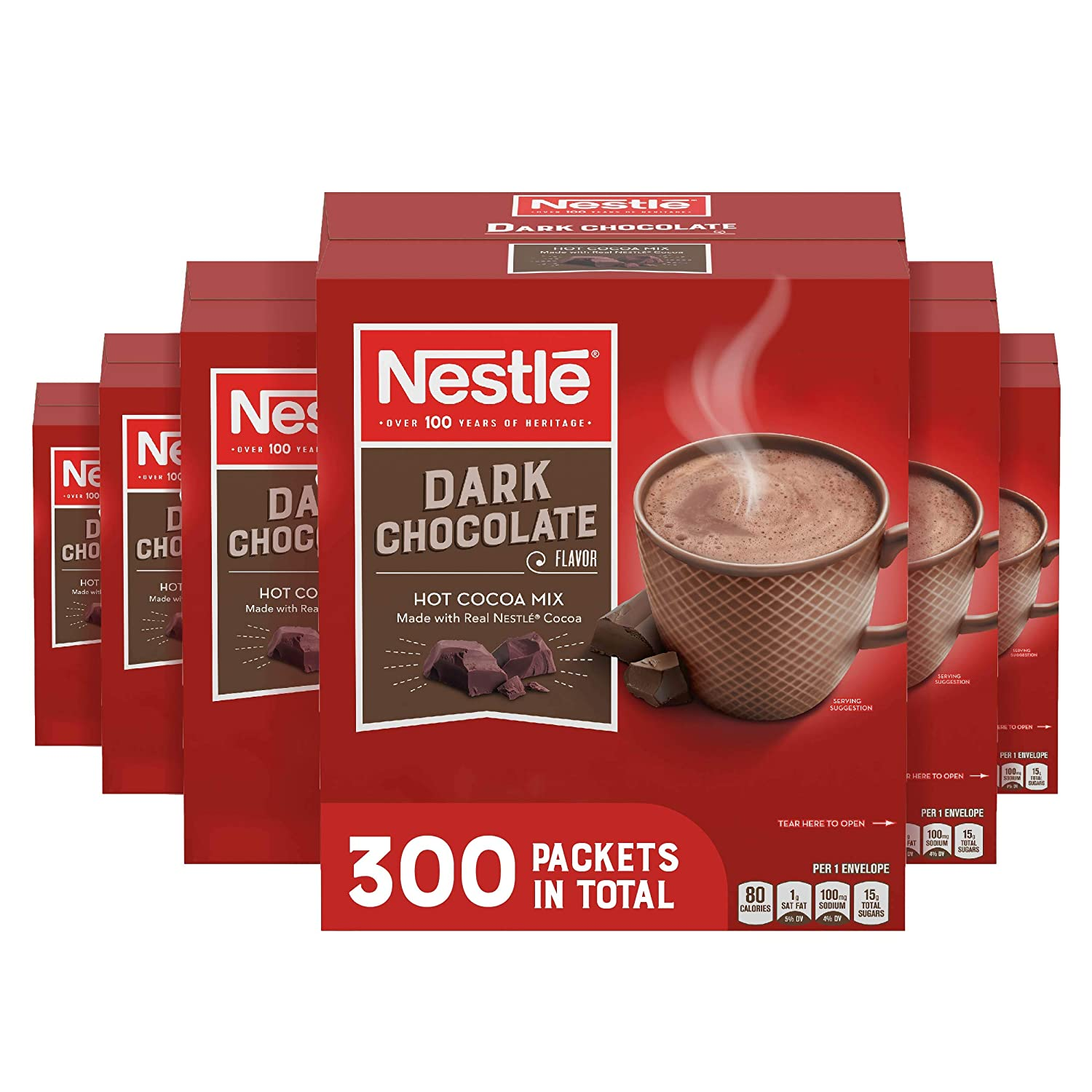 Nestle Hot Chocolate Packets, Dark Chocolate Flavor Hot Cocoa Mix, Made with Real Cocoa, 0.71 oz Sachets, Bulk Pack (300 Count)
