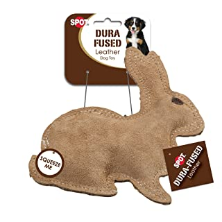 Ethical Pet Dura-Fused 7.5-Inch Leather Dog Toy, Small, Rabbit