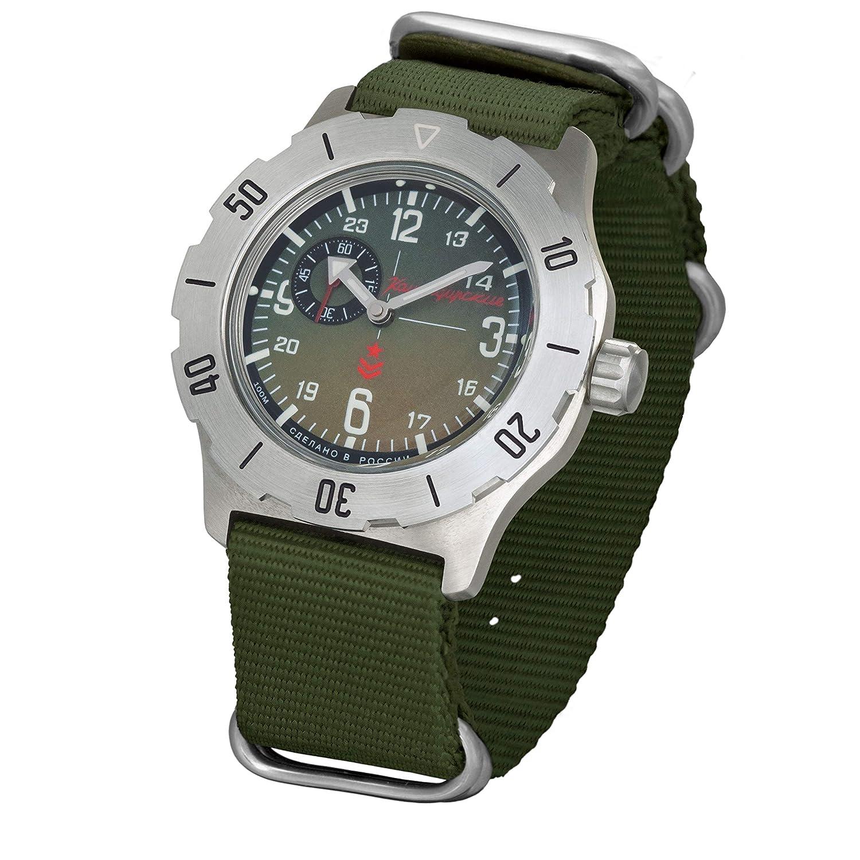 Vostok Komandirskie K-35 Reloj militar ruso, verde K35 con correa zulu 2415 / 350501: Amazon.es: Relojes