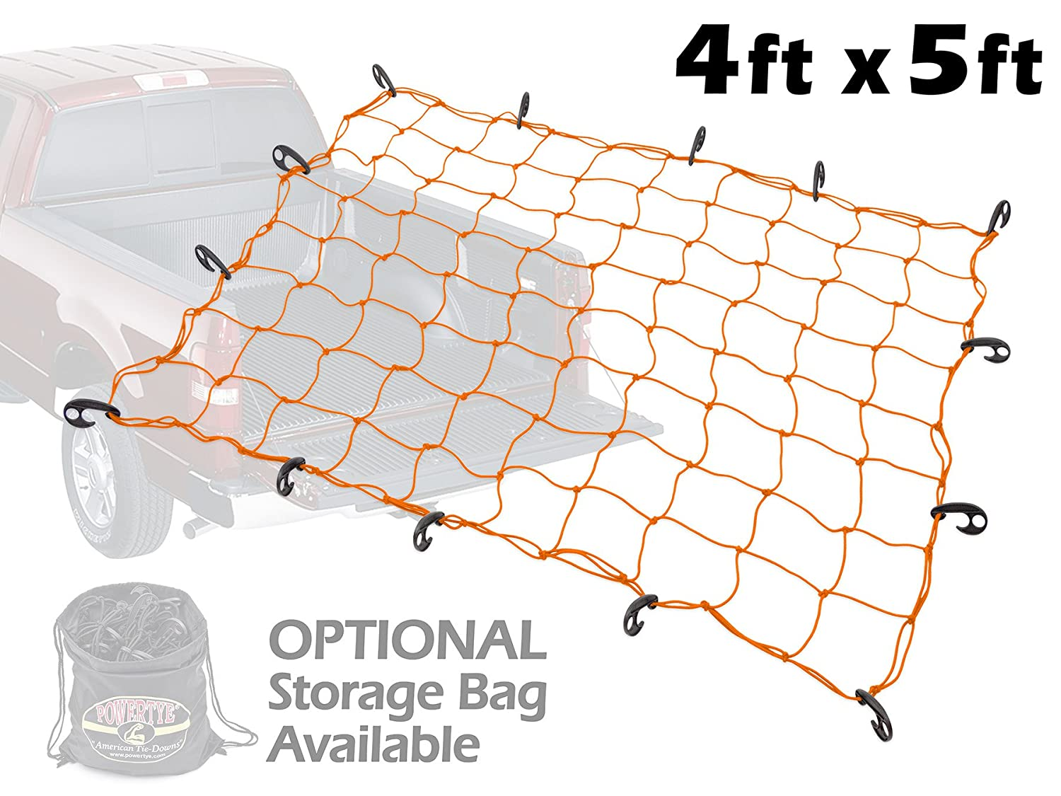 Orange Net 4333199466 4ft x 5ft PowerTye Mfg Truck /& Trailer Large Elastic Cargo Net with 14 Adjustable Hooks Includes Large Drawstring Net Storage Bag