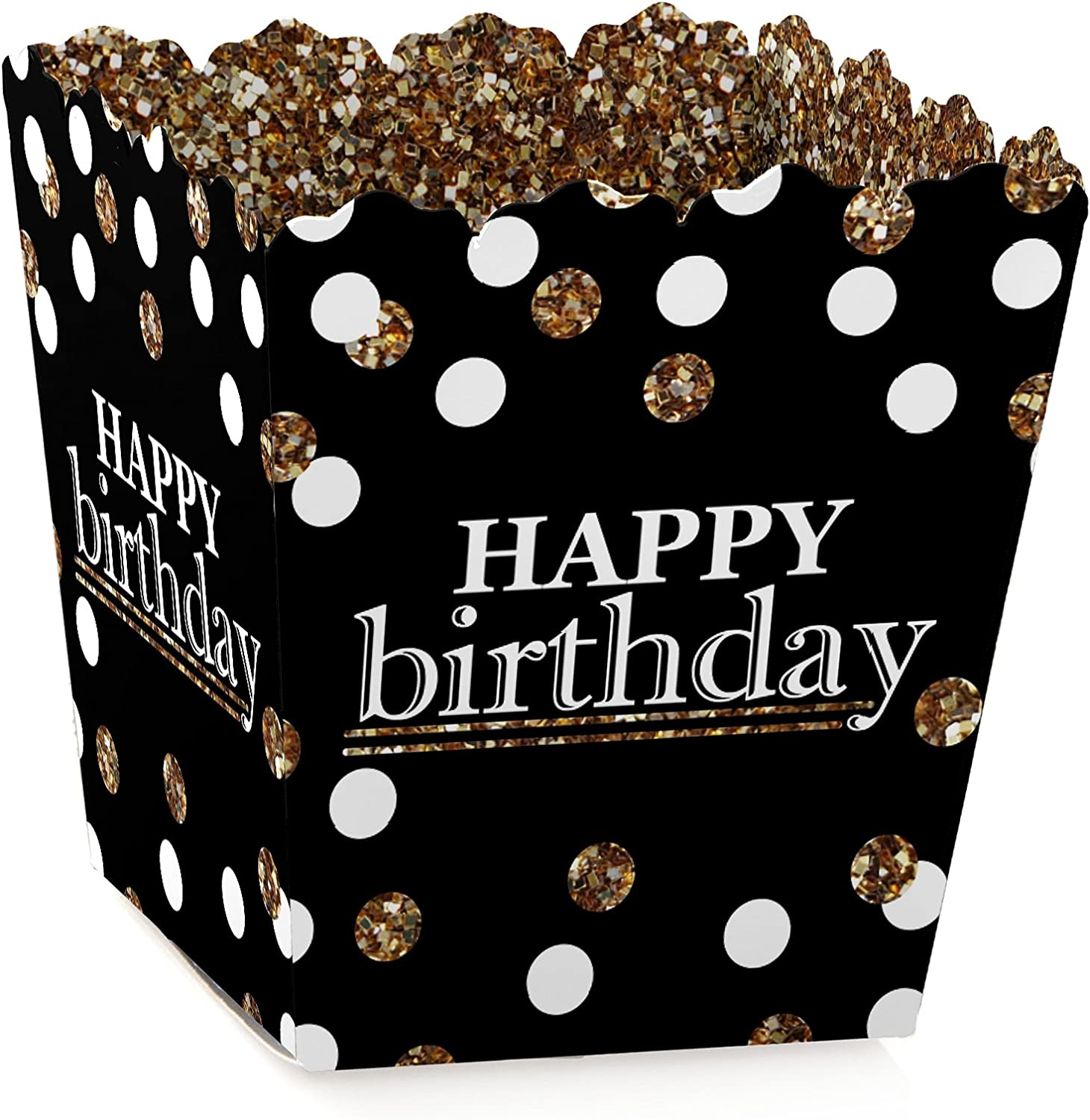 Set of 12 Birthday Party Favor Boxes Adult Happy Birthday Gold