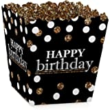 Adult Happy Birthday - Gold - Party Goodie Favor Boxes - Birthday Party Treat Candy Boxes - Set of 12