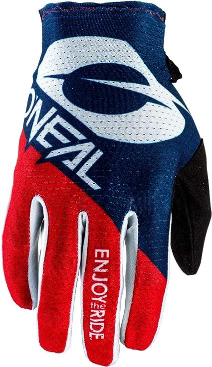 O Neal Fahrrad Motocross Handschuhe Mx Mtb Dh Fr Downhill Freeride Langlebige Flexible Materialien Belüftete Handoberseite Matrix Glove Erwachsene Blau Rot Größe M Sport Freizeit