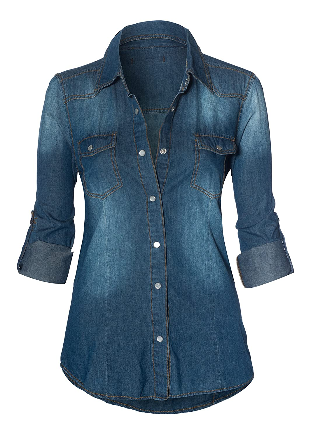 HOT FROM HOLLYWOOD Classic Denim Washed Chest Pocket Button Closure Top
