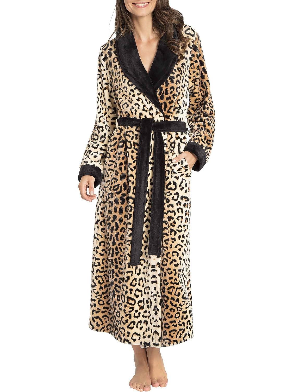 Taubert Leopard Kuschelmantel mit Schalkragen, Länge 130cm Damen