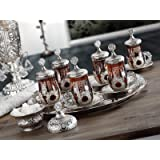 HIGH END Silver plated - EPHESIAN - METAL Authentic Tea Serving Set for 6 - Made in Turkey - 27 pieced set including Tray, Silver