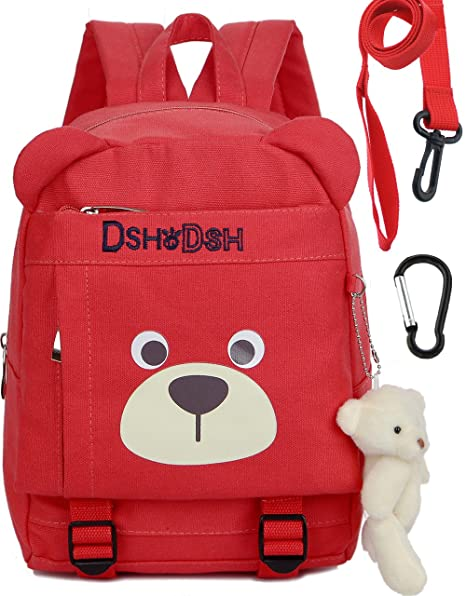 Cotton Kids Children Backpack with Safety Harness Organizer Bear for Girls(Red)