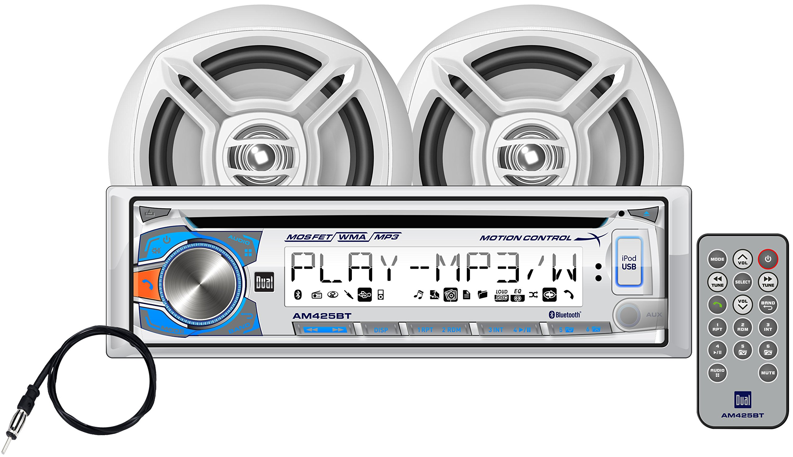 Dual Electronics AMCP425BT Multimedia 3.7 inch LCD Single DIN Marine Stereo with Built-In Bluetooth, Motion Control, CD & USB Players, Two 6.5 inch Dual Cone Marine Speakers & Marine Antenna