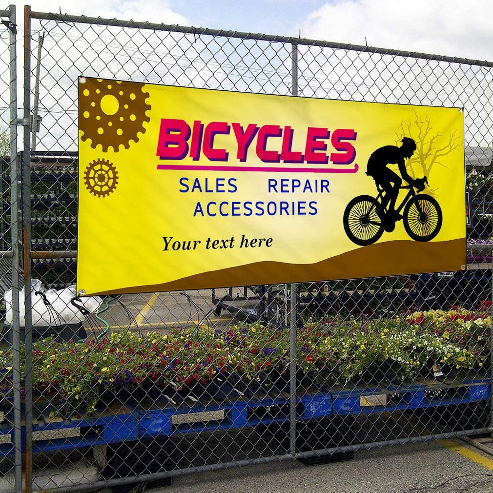 Custom Industrial Vinyl Banner Multiple Sizes Bicycles Sales Repair Accessories Personalized Text Cars and Transportation Outdoor Weatherproof Yard Signs Red 8 Grommets 40x100Inches