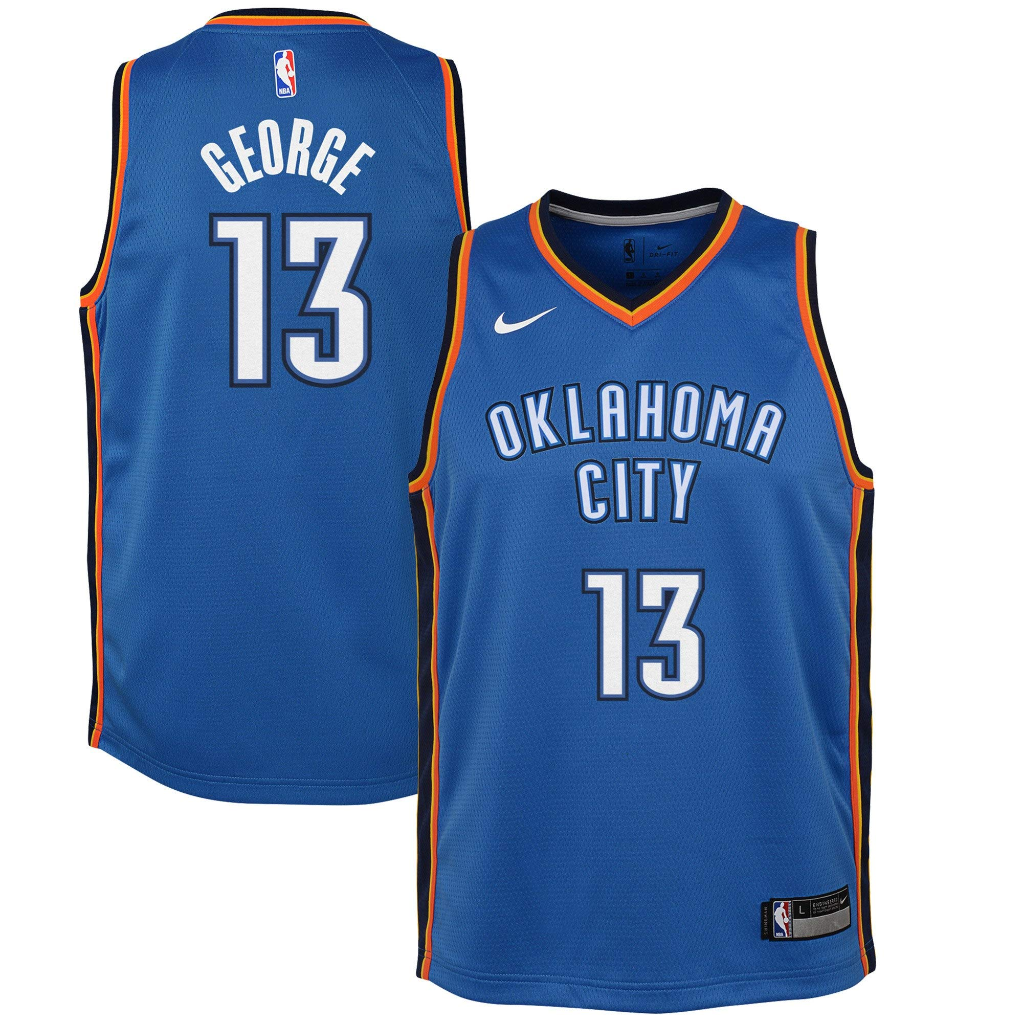 Nike Youth Paul George Oklahoma City Thunder Icon Edition Jersey - Blue (Gold, Youth Large (14-16)) by Nike (Image #1)