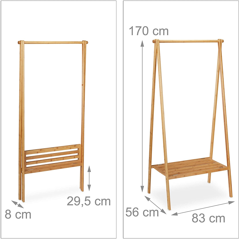 Haken 360/° drehbar 12 Hosenb/ügel aus Holz Garderobenb/ügel Relaxdays Kleiderst/änder aus Bambus HBT: 155,5 x 50 x 57,5 cm Garderobenst/änder natur//silber HxB: 22,5x44,5cm natur /& Kleiderb/ügel Set