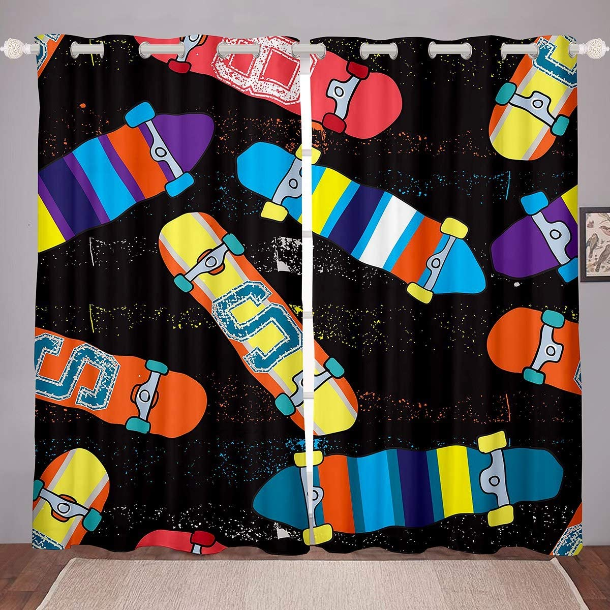 Loussiesd Tie Dye Vorh/änge Boho Psychedelischer Fenstervorhang Hippie Tie Dye Blickdichte Vorh/änge B/öhmische Zigeunerin Verdunkelungsvorh/änge 137x117cm
