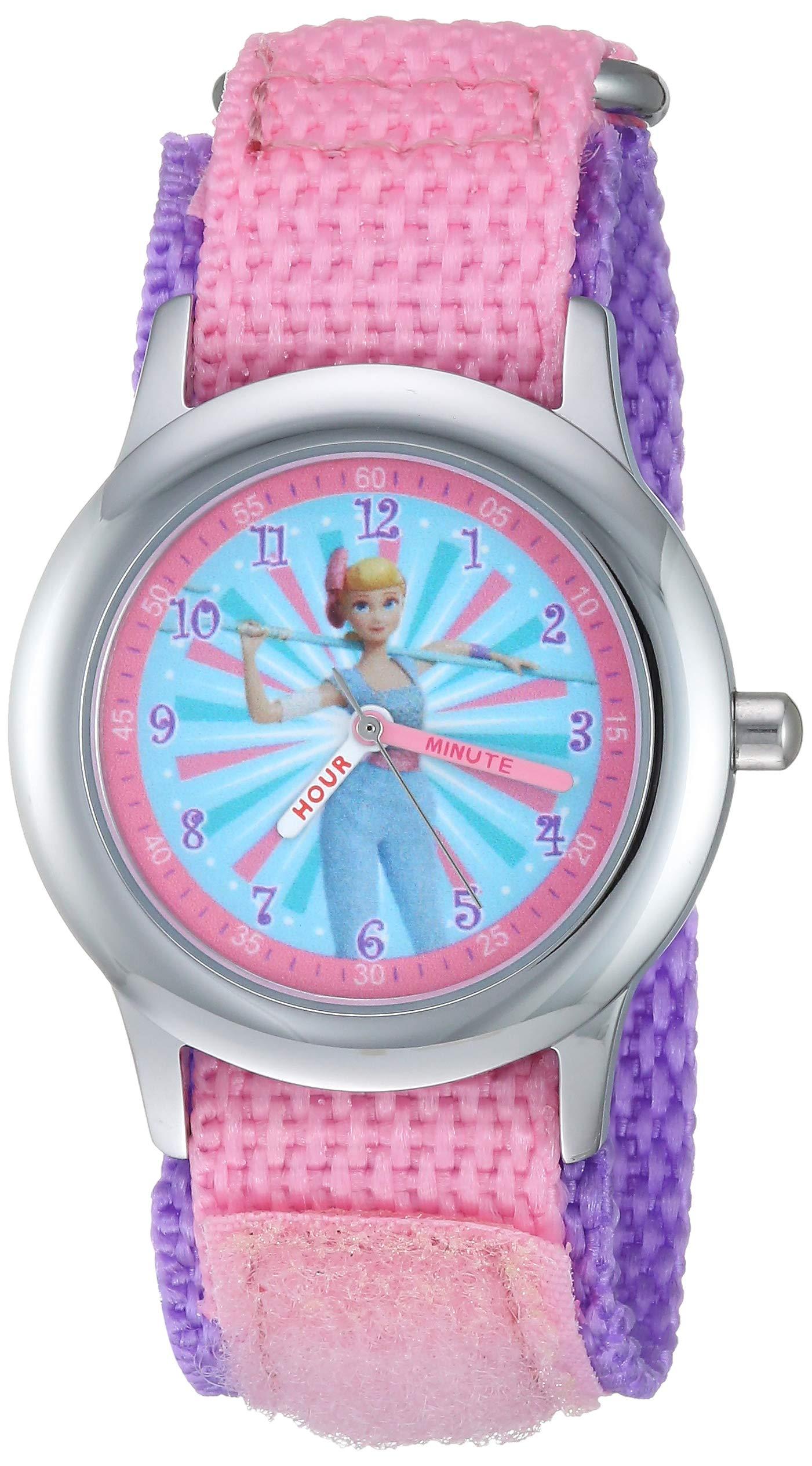Disney Girls Toy Story 4 Stainless Steel Analog-Quartz Watch with Nylon Strap, Pink, 16 (Model: WDS000718) by Disney