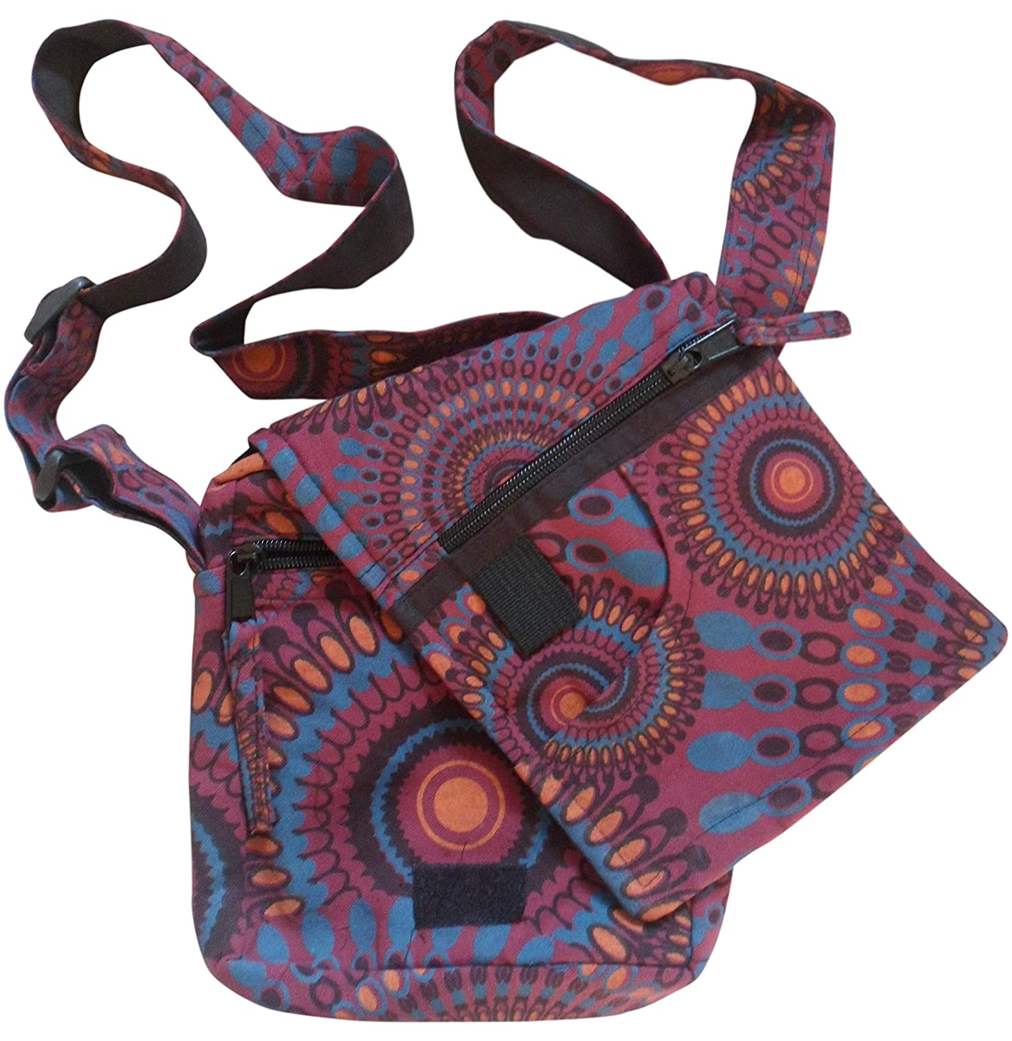 Lots of Pockets Hippy Boho Shoulder Passport Bag Fully Lined Made in Nepal