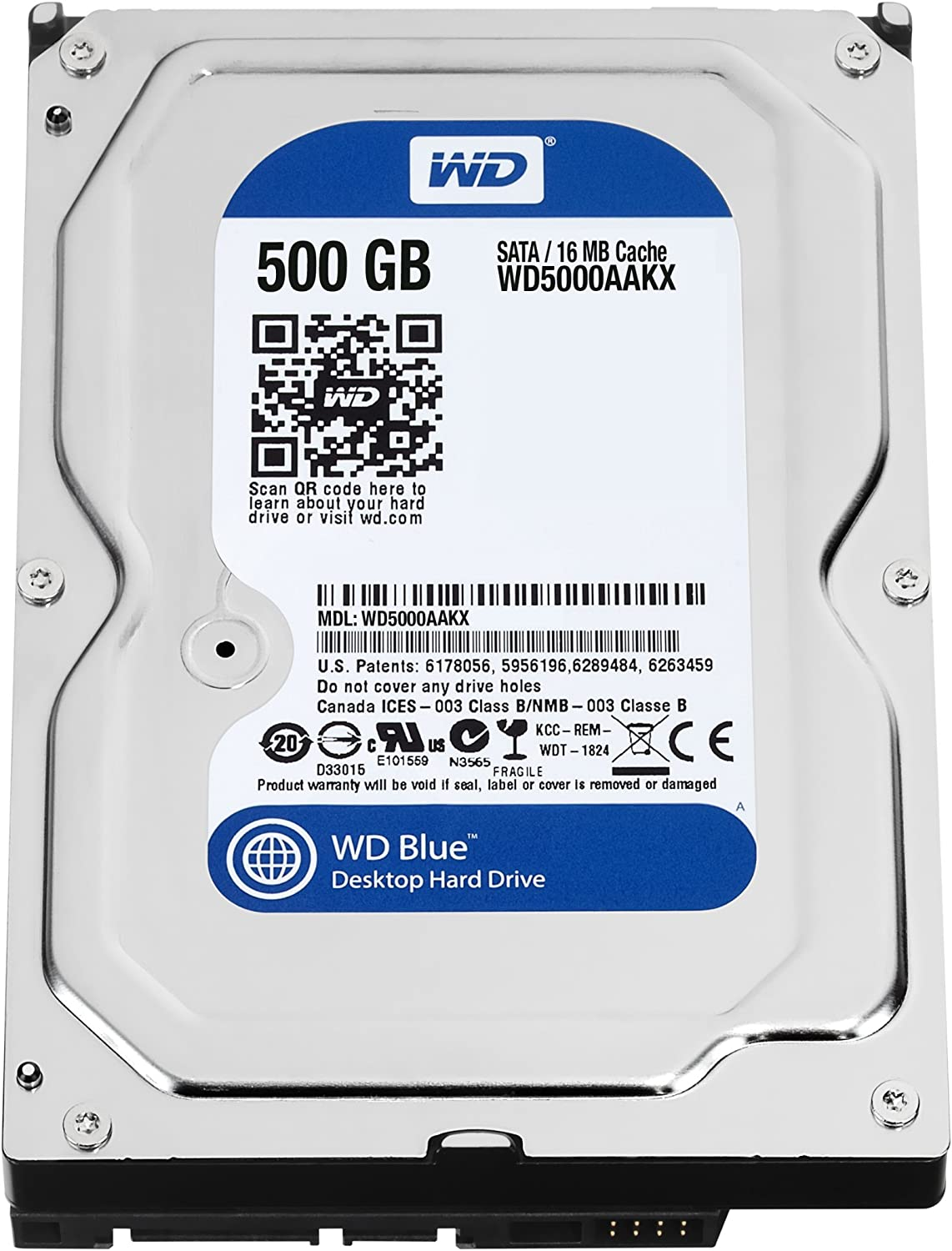 WD Blue 500GBDesktopHard Disk Drive - 7200 RPM SATA 6 Gb/s 16MB Cache 3.5 Inch- WD5000AAKX (Renewed)