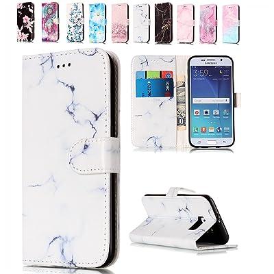 93b7d895fd5 Funda Samsung Galaxy S6 Edge Blanco Marmol, E-Mandala Funda Samsung Galaxy  S6 Edge Carcasa con Tapa Libro 360 Grados PU Leather Con TPU Silicona  Bumper Case ...