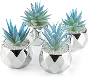 Artificial Succulents - Blue Plants - Silver Ceramic Pots for Home Decor - Set of 4 - 2 in/5cm Mini Planters - Perfect for Indoors and Outdoors - Living Room, Kitchen, Office, Desk, Bedroom - Gift