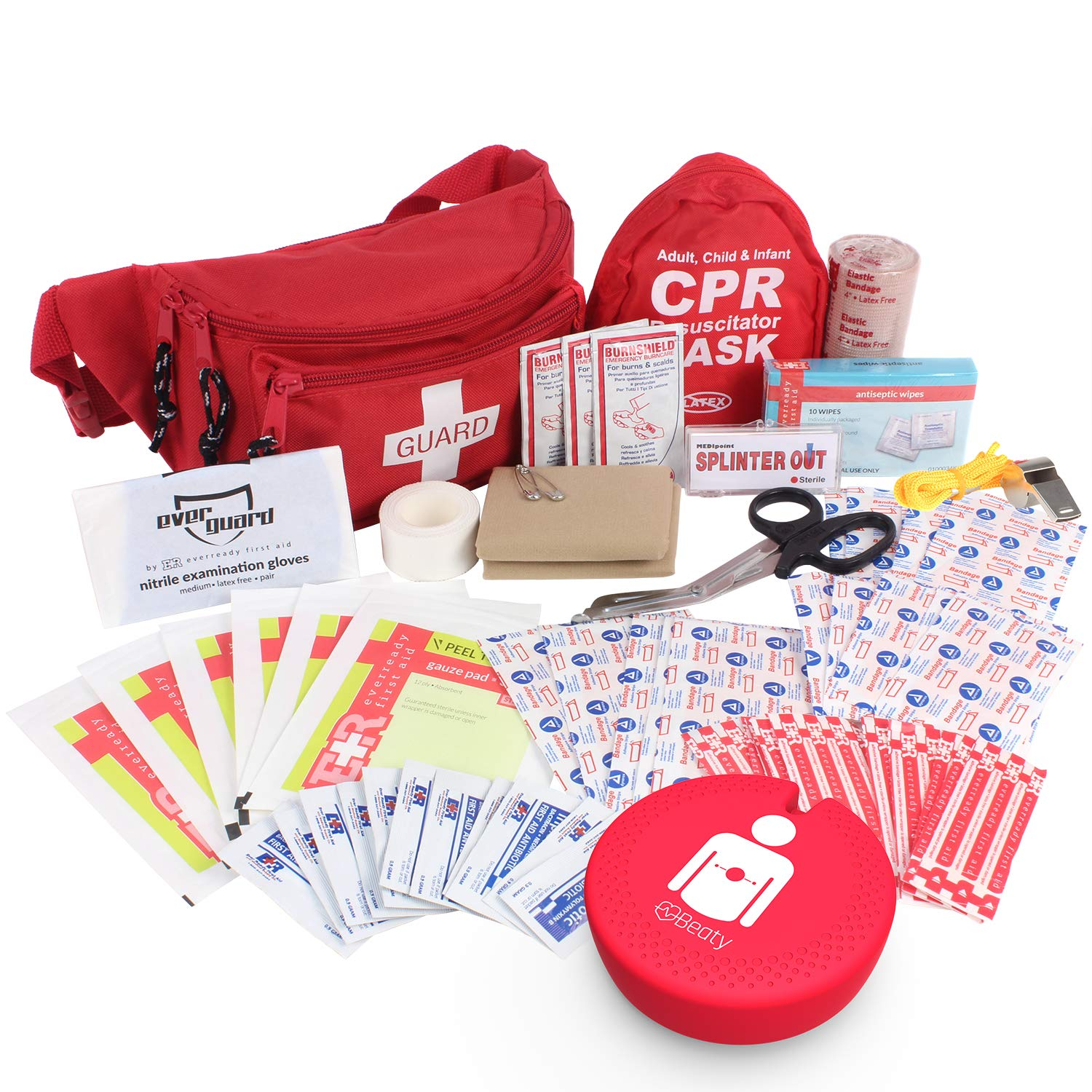 Ever Ready First Aid, Fanny Pack/Hip Pack, Fully Stocked First Aid Kit with Adult & Infant CPR Combo Masks with Beaty