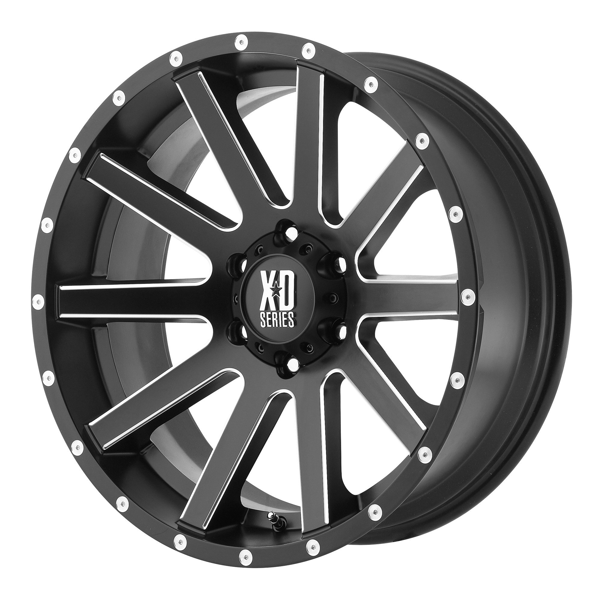 XD Series by KMC Wheels XD818 Heist Satin Black Wheel With Milled Spokes and Flange (20x9''/6x139.7mm, +18mm offset)