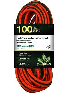 Amazonbasics 12 3 Heavy Duty Sjtw Lighted Extension Cord Orange 1 Foot Set Of 2 Amazon Com