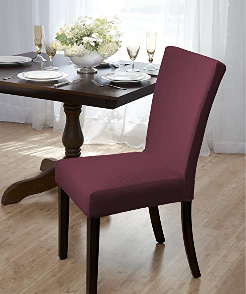 Madison Home Subway Tile Dining Chair Cover Burgundy