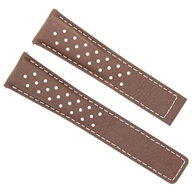Leather Band Strap 22MM for TAG HEUER Carrera Monaco 16 L/Brown WS 4T Perforated