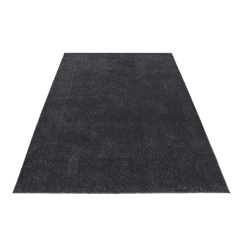 HomebyHome Einfarbig Moderner Kurzflor Guenstige Teppich Uni Schwarz meliert Wohnzimmer, Schlafzimmer, Diele, Küche, Größe 200x290 cm