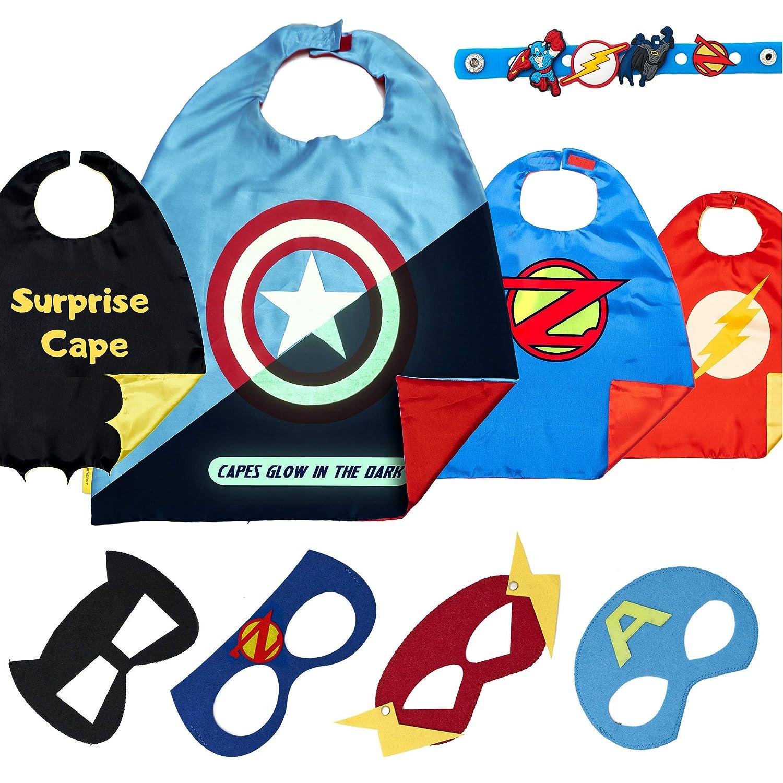 Costumi di Carnevale Giocattoli per Bambini E Bambine Regali di Compleanno 4 Mantelli E Maschere Costumi da Supereroi per Bambini Logo di Captain America Visibile al Buio