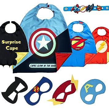 Disfraz De Superhéroes para Niño - Regalos De Cumpleaños para Niña - 4 Capas Y Máscaras - Juguetes para Niños Y Niñas - Logo Brillante de Captain ...