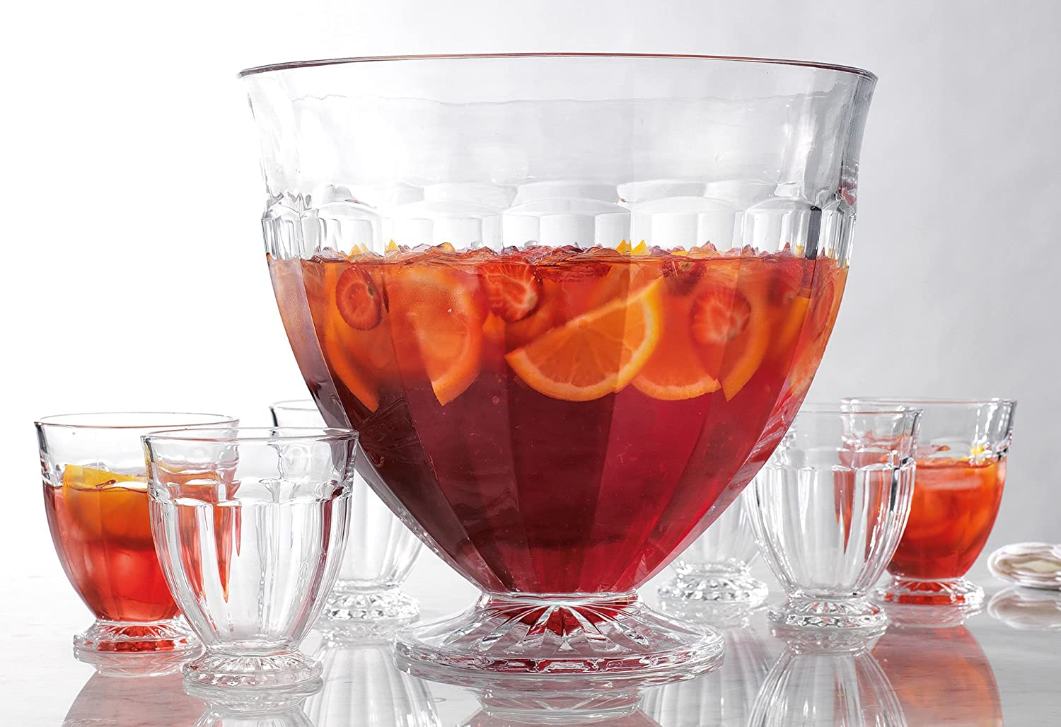 Decorative Large Punch Bowl with 6 Individual Cups - For Ice Cream, Sundae, Punch, Appetizer, Fruit, Pudding & Cocktail, Parties, Events, Buffet, Salads, Fruits, Vegetables, Le'raze