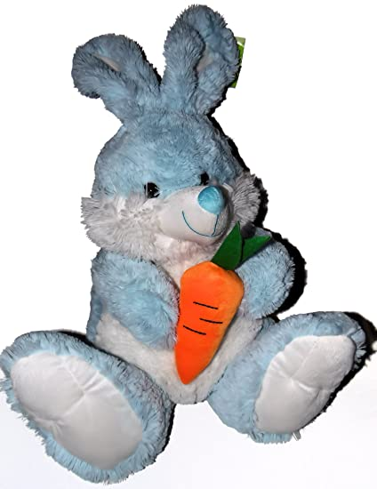 Amazon Com Fluffy Blue Bunny Rabbit With A Carrot Plush Stuffed Toy