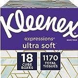 Kleenex Expressions Ultra Soft Facial Tissues, 18 Cube Boxes, 65 Tissues per Box (1,170 Tissues Total)