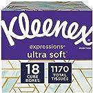 Kleenex Expressions Ultra Soft Facial Tissues, 18 Cube Boxes, 65 Tissuesper Box (1, 170 Tissues Total)