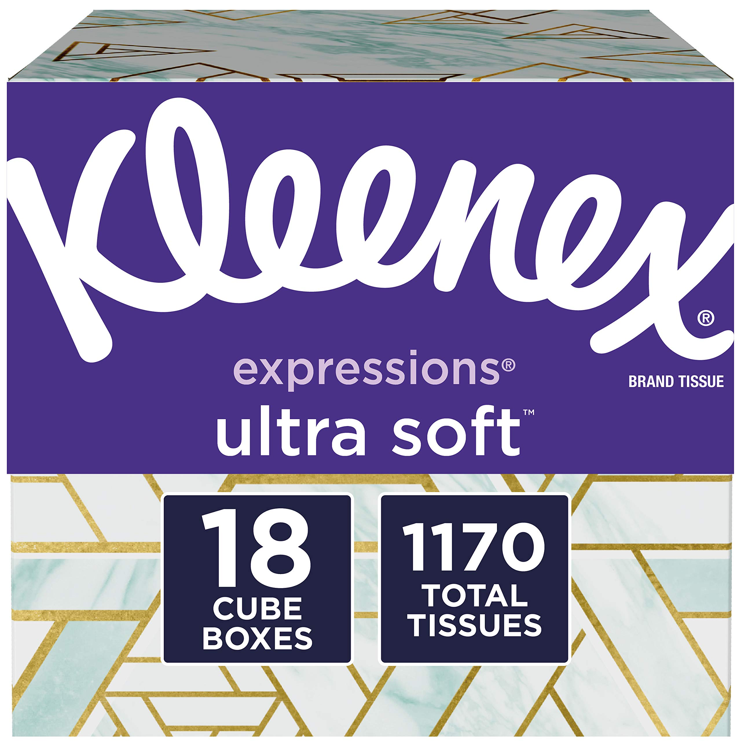 Kleenex Expressions Ultra Soft Facial Tissues, 18 Cube Boxes, 65 Tissuesper Box (1, 170 Tissues Total)