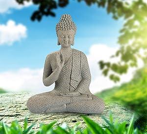 Meditating Buddha Statue, Zen Buddha Figurine in Brown Sandstone Finish, Thai Buddha Sculpture for Home & Garden Decorations (9.5