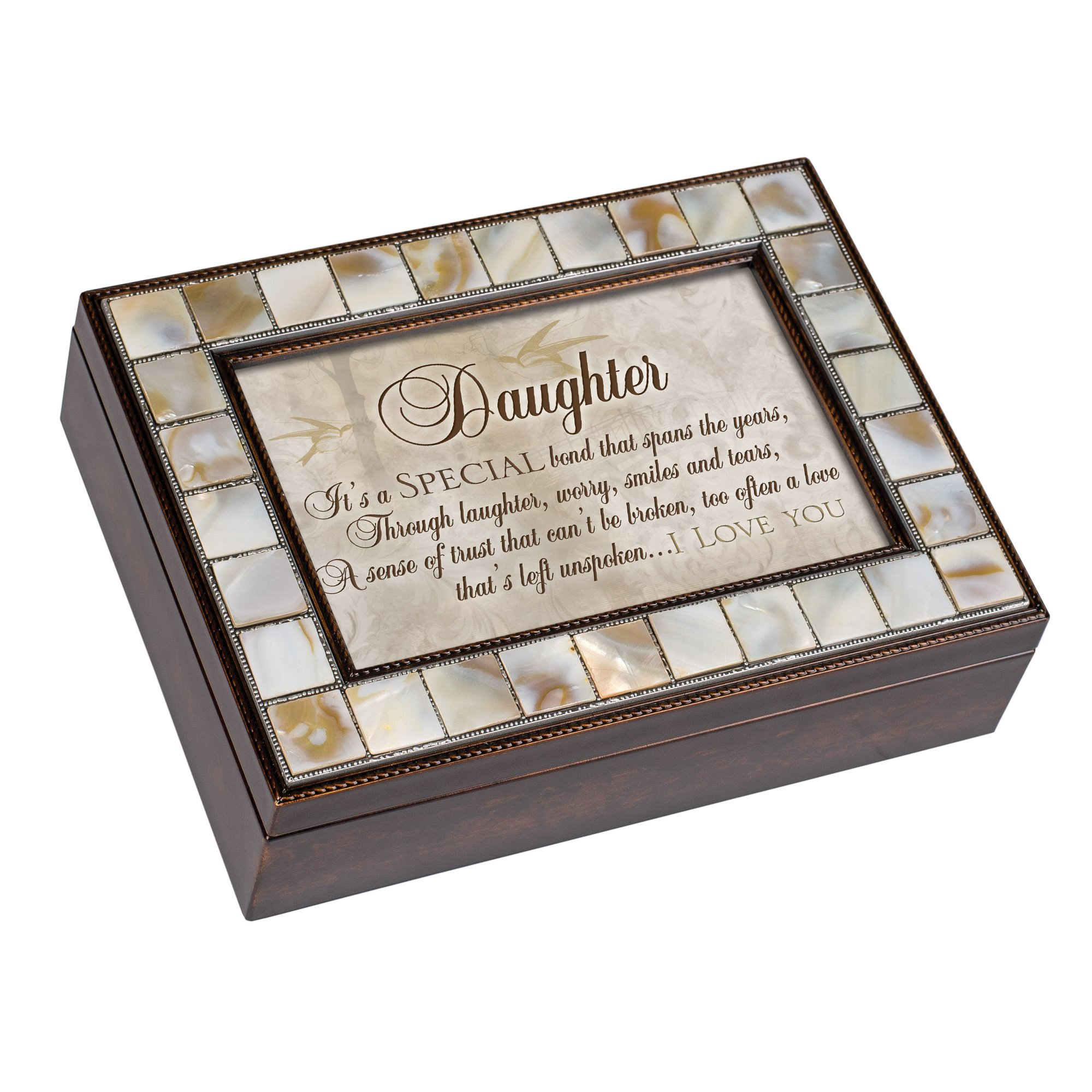 Cottage Garden Daughter Special Bond Mother of Pearl Amber Jewelry Music Box Plays You Light Up My Life