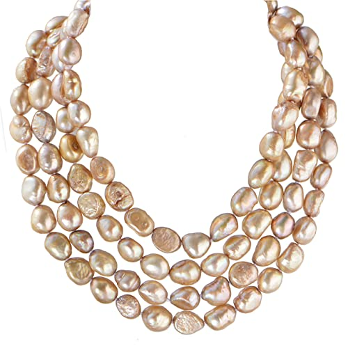 d0b018cf2edd Amazon.com: 9-10mm Baroque Cultured Freshwater Pearl Necklace Strand  Endless Palette Pure Champagne 60