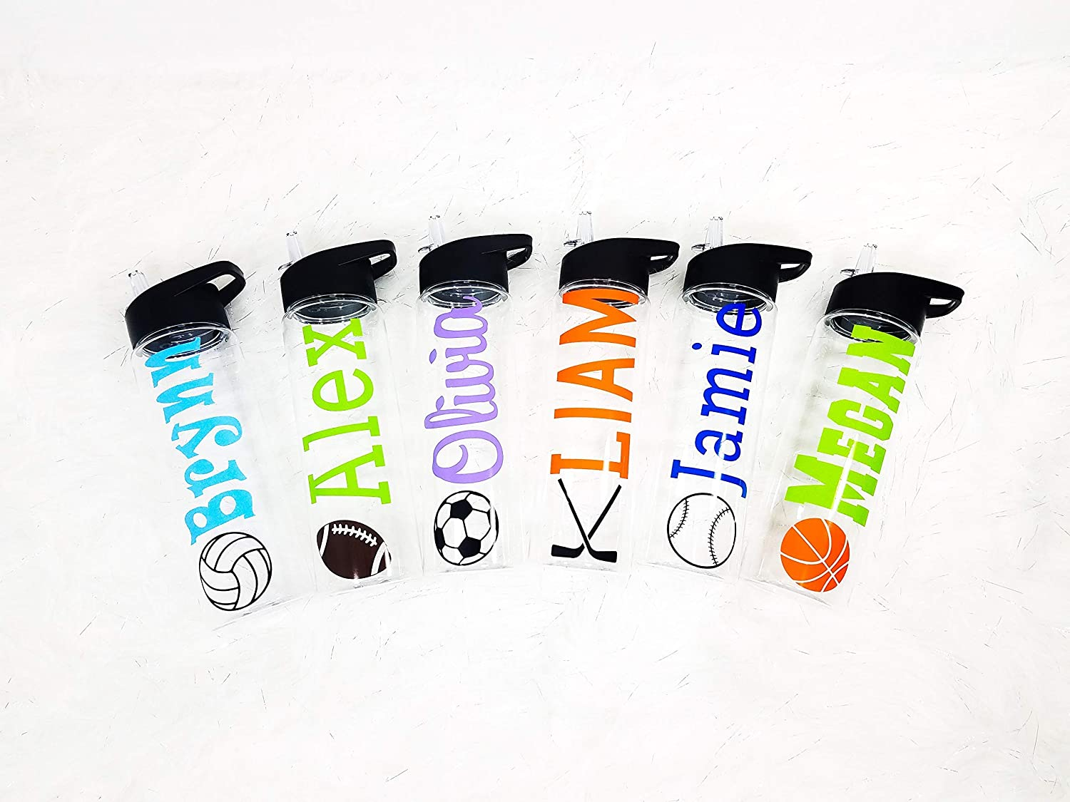 Kid Personalized Plastic Tumbler Sport Bottle Vinyl Decal Kid Friendly Water Bottle Plastic Sports Water Bottle with Name Wedding Party Gift Custom Water Bottle Bebas Personalized Water Bottle