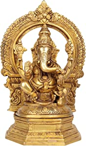 Exotic India Lord Ganesh with Aureole Home Décor Ganesha Brass Statue, Golden
