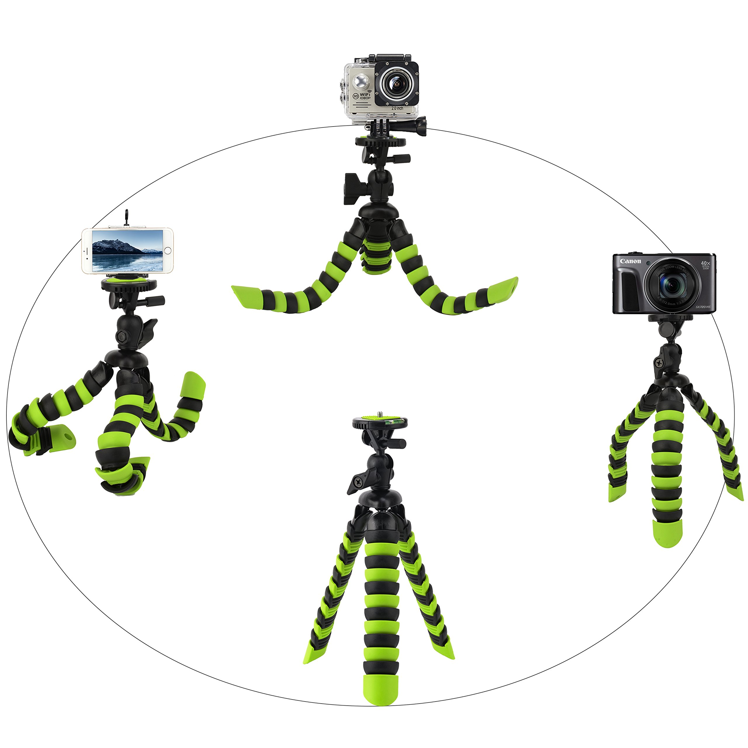 Tairoad 12 Inch Flexible Tripod with Bendable Leg and Free Smartphone and Gopro Mount Adapter Best Travel Tripod