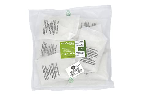 47ba778a2 Silica gel - 10 bustine disidratanti da 120 grammi cadauna sali essiccanti  involucro in TNT