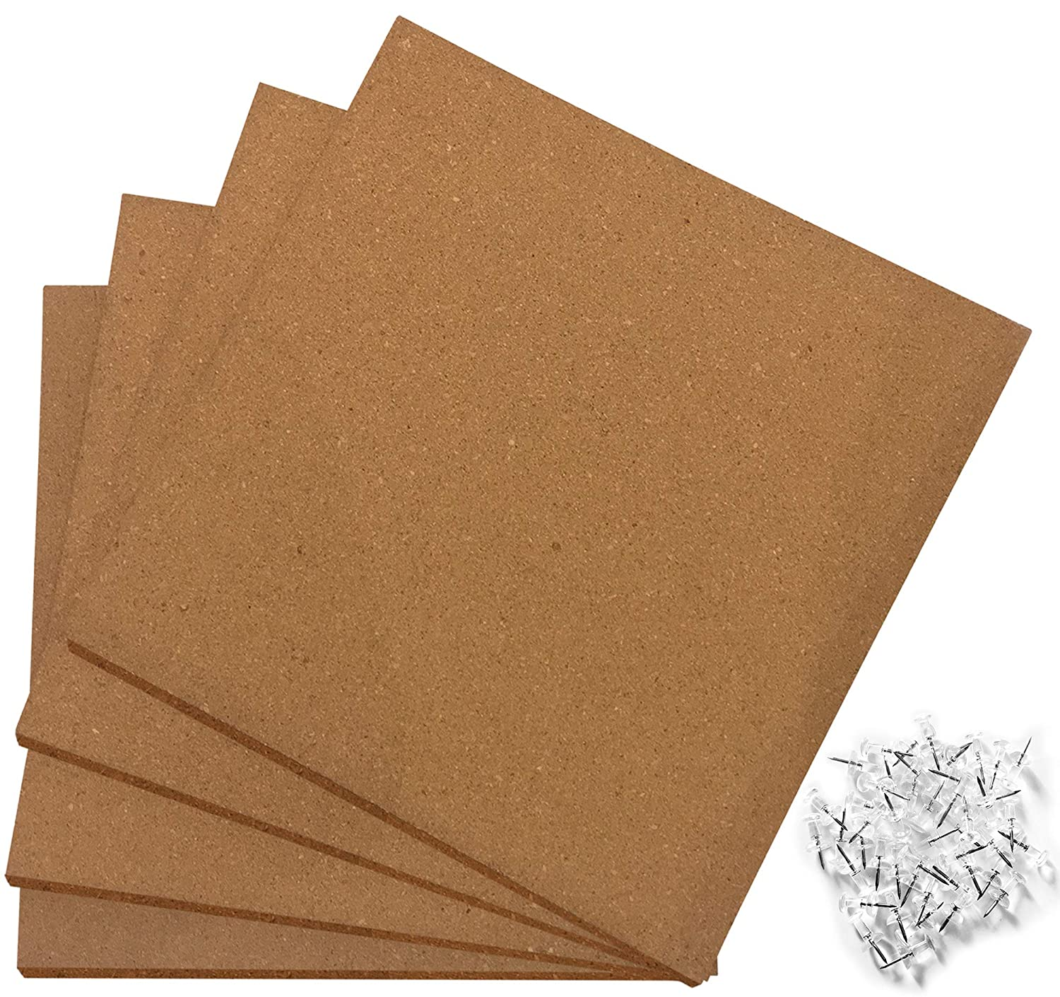 Premium Cork Tiles 12 x 12 - Extra Thick - 50 Push Pin Pack - Ultra Strong Self Adhesive Backing - 4 Pack - Cork Board - Bulletin Board - Mini Wall Classic Mules