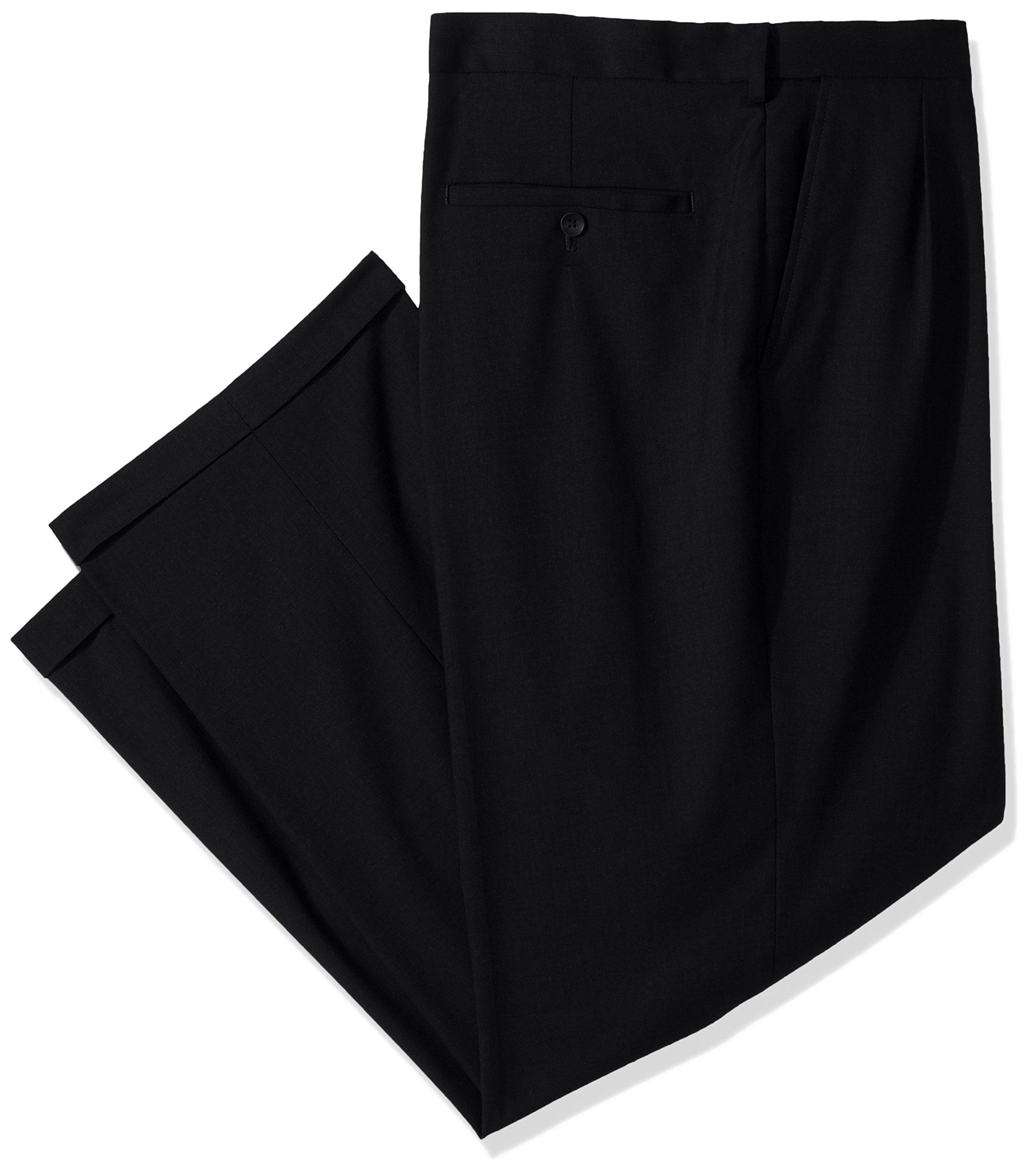 Haggar Men's Big and Tall J.m Premium Stretch Classic Fit Pleat Front Pant, Black, 44Wx30L