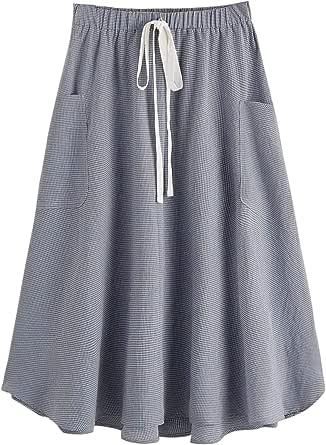 SweatyRocks Women's Vintage Pleated Elastic Waist Cotton Midi Skirt with Pocket