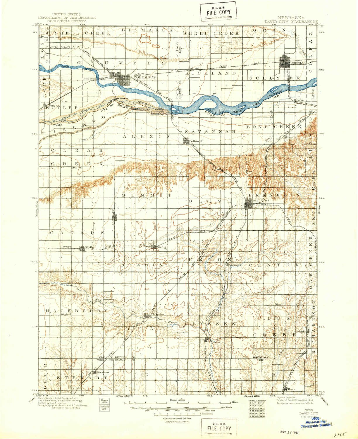 Amazon.com: YellowMaps David City NE topo map, 1:125000 Scale, 30 X ...