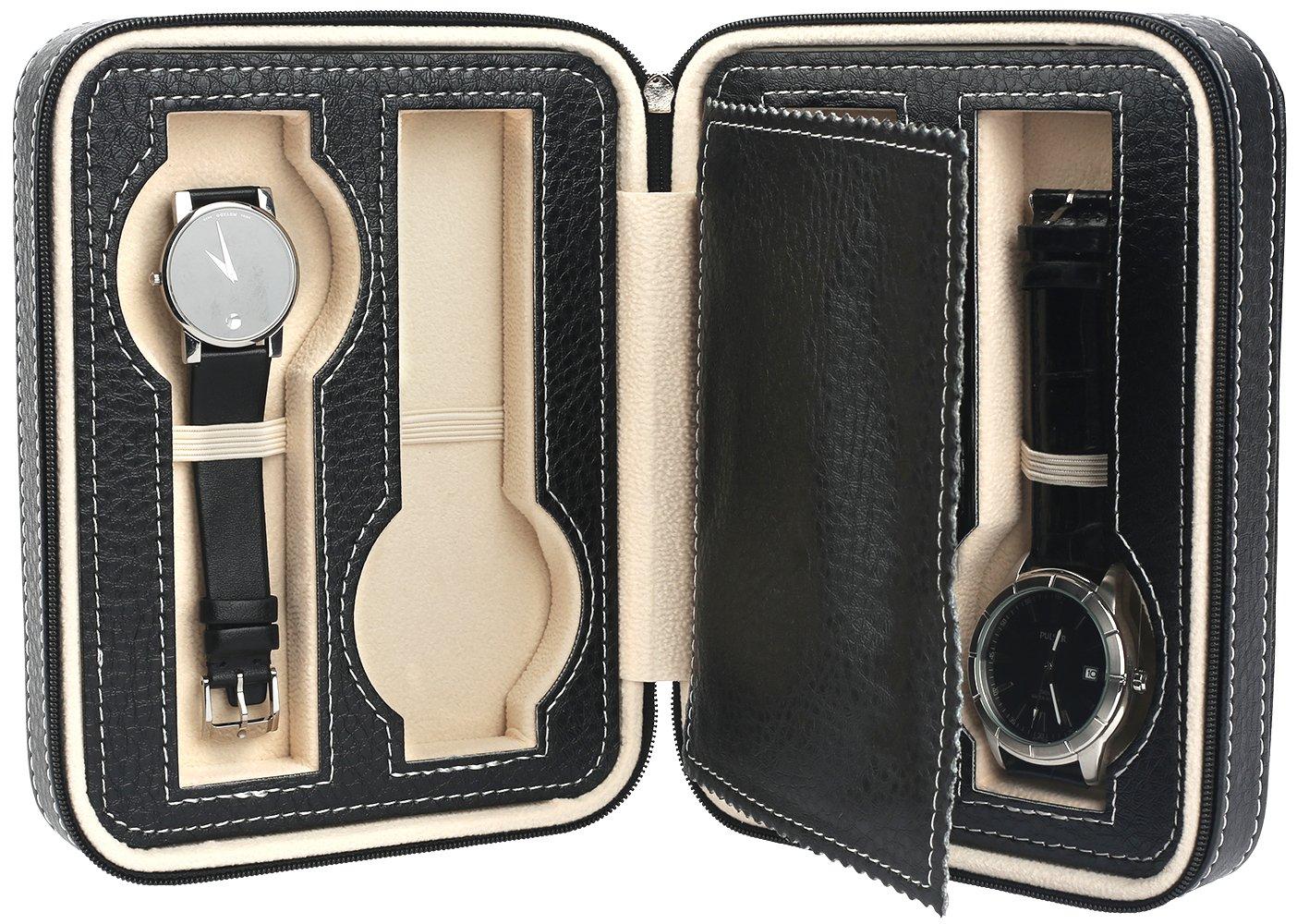 Mantello 4 Slot Leather Portable Travel Watch Case Storage Organizer, Black