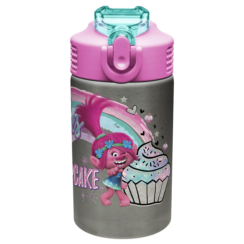 Frozen Girl SS Zak Designs Frozen 15.5oz Stainless Steel Kids Water Bottle with Flip-up Straw Spout BPA Free Durable Design
