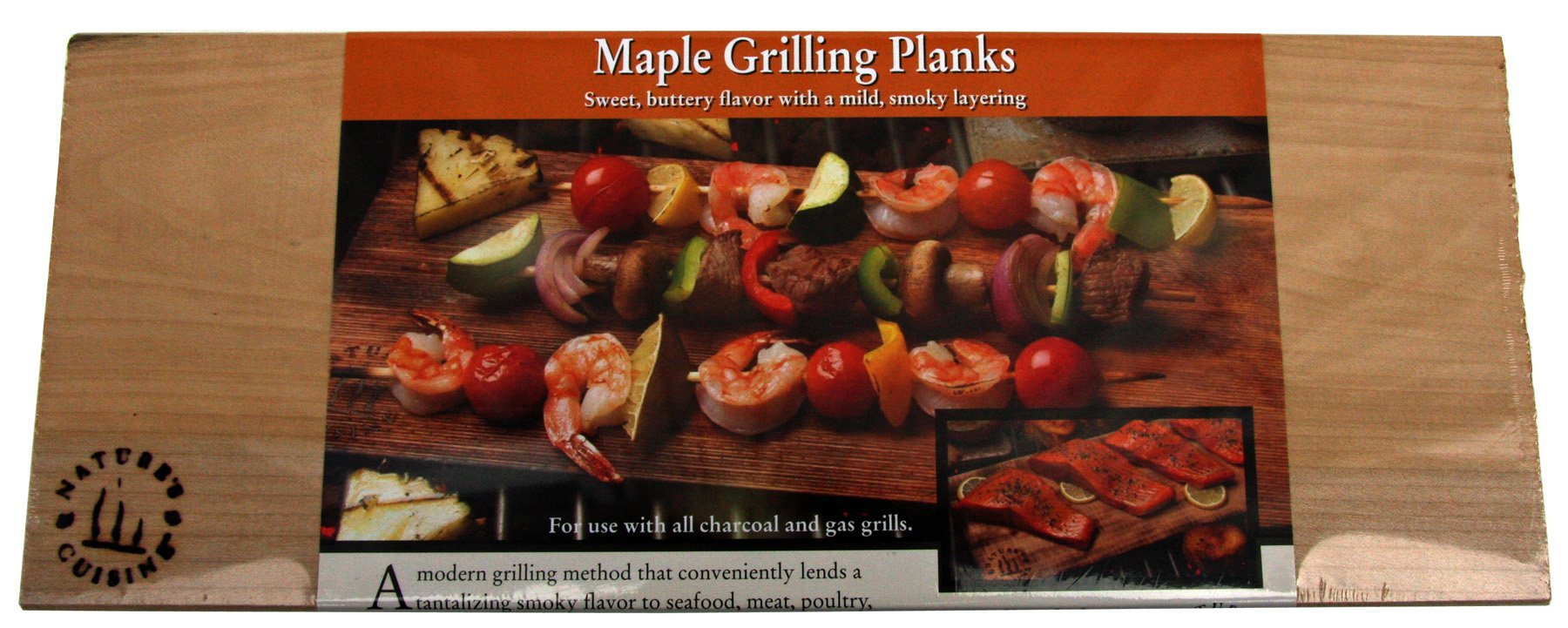 Nature's Cuisine NC007-2 14 by 5-1/2-Inch Maple Outdoor Grilling Plank, 2-Pack
