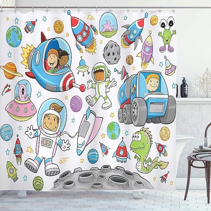 Creative Astronaut Blue Whale Universe Space Shower Curtain Set Bathroom Decor