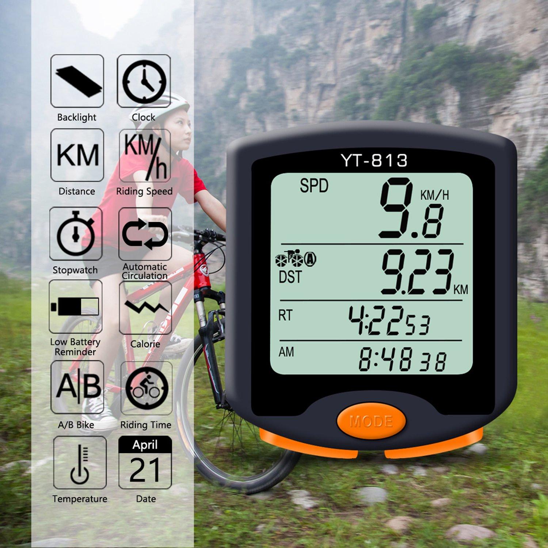 Nellvita Bike Speedometer Odometer, Wireless Waterproof Multifunction Cyling Bicycle Computer With LCD 4 Line Display Big Screen Backlit by Nellvita (Image #2)